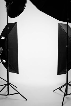 Flashes on a white background in the studio, there are no people in the frame