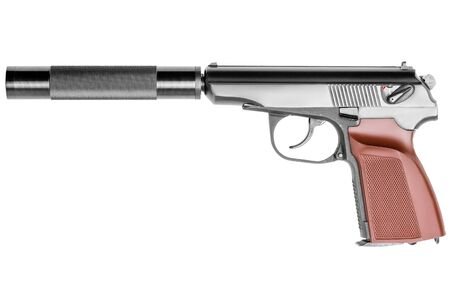 gun close up on white background weapon with silencer