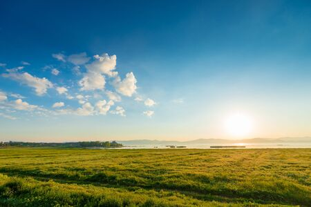 Morning, in the frame field and Lake Sevan, a picturesque landscape of Armenia Imagens