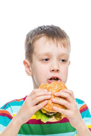boy 10 years old and harmful but tasty food hamburger
