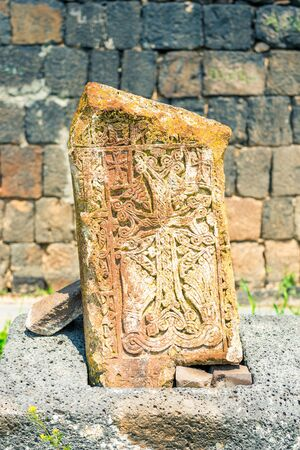 Armenian heritage stone khachkar with beautiful pattern close up