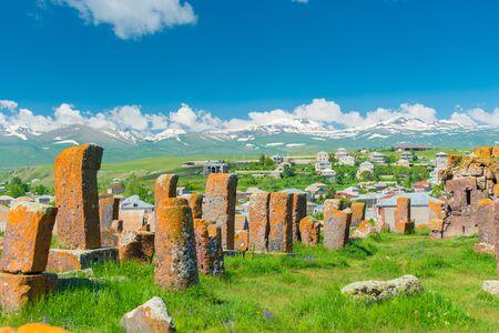 Armenian landmark stone tombstones ancient khachkars at Noratus cemetery