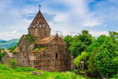 Horizontal photo of the Christian monastery Sanahin, a landmark of Armenia
