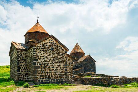 landmark of Armenia Sevanavank Monastery on the shore of Lake Sevan