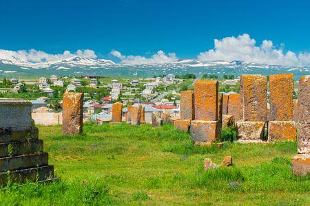 sight of Armenia ancient cemetery Noratus with stone khachkars