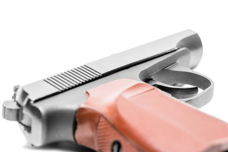 gas pistol on a white background close-up