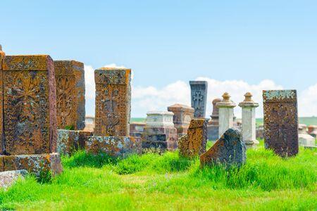 Ancient khachkars in the Armenian cemetery of Noratus in Armenia Imagens