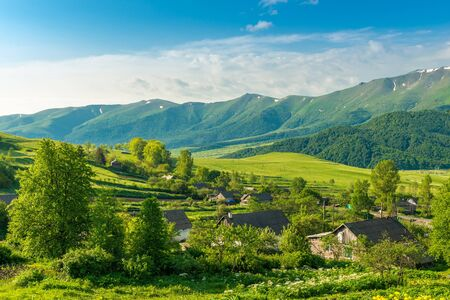 Green high mountain ranges on a sunny summer day in Armenia, beautiful landscape