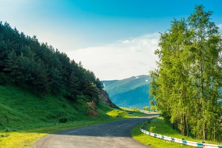 Sunny summer day, beautiful picturesque landscape in the mountains of Armenia, no cars on the road