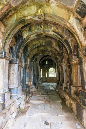 The arches and corridor of the interior of the monastery Sanahin in Armenia, the heritage of UNESCO