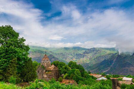 Christian ancient monastery Sanahin - a landmark of Armenia against the backdrop of beautiful mountains