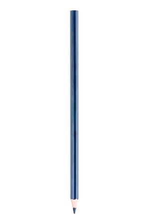one blue sharpened pencil on a white background is isolated