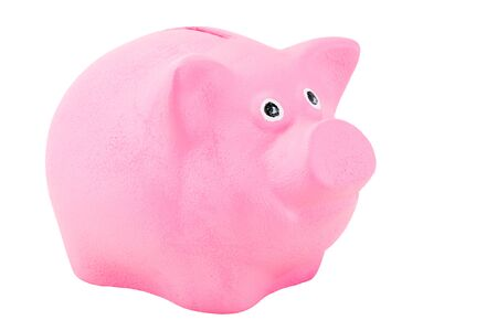 piggy bank for coins pink pig close up on a white background is insulated