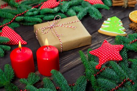 Christmas concept - new year objects, gifts beautiful greeting card Stockfoto