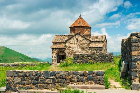 landmark of Armenia Sevanavank Monastery in the city of Sevan near the lake Stockfoto