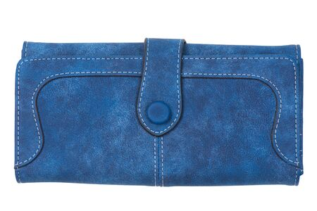 blue female wallet close-up on a white background Stockfoto