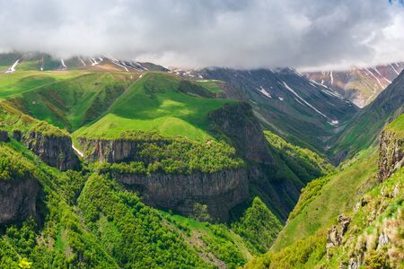 Travel across Georgia, picturesque high mountains and gorges, a beautiful natural landscape