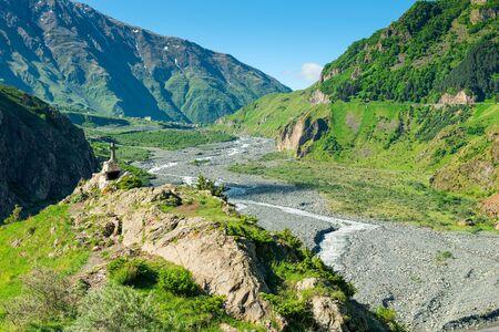 Green high Caucasus mountains in Georgia beautiful landscapes