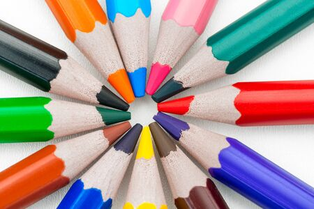 concept of colored pencils arranged in a circle Stockfoto