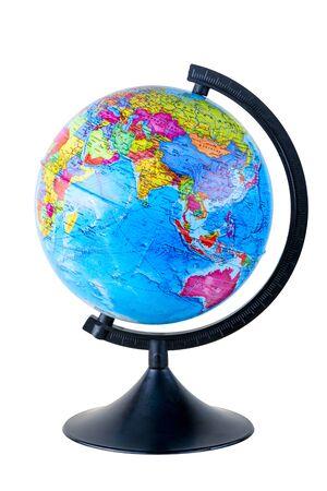 school globe isolated on white background close-up