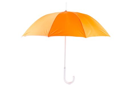 open umbrella cane of orange color, photograph on a white background is isolated