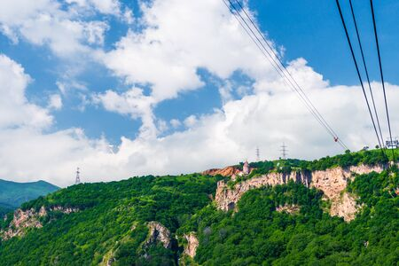 Tatev Monastery on a cliff and the Wings of Tatev cable car, a tourist attraction in Armenia