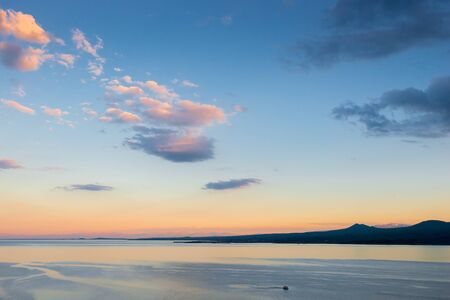Evening landscape view of Lake Sevan Armenia sight