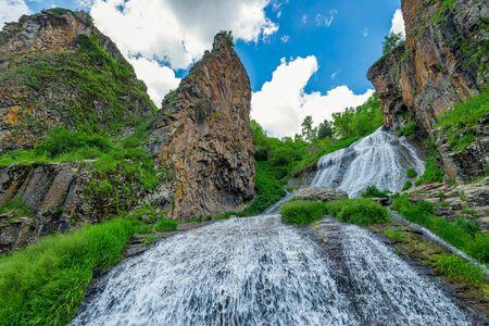 Bottom view of graceful waterfall Jermuk Mermaid Hair in Armenia