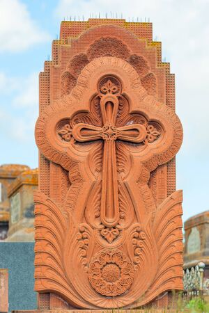 Traditional stone khachkar Armenian with lace tufa carving Stockfoto