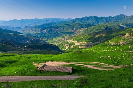 Armenias high mountains covered with grass, summer landscape with a view of the horizon