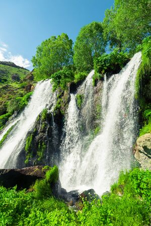 Vertical photo of Shakinsky waterfall of Armenia, famous natural attraction Stockfoto