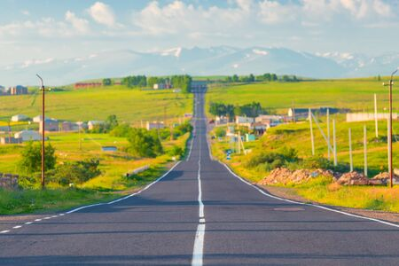 Morning, road, cityscape photography in a village in Armenia