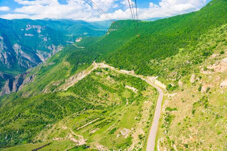 The picturesque landscape of Armenia, a view of the mountains from the cabin of the cableway Wings of Tatev