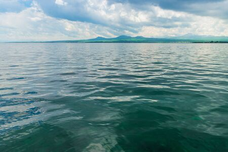 landscapes of Armenia picturesque famous lake Sevan on a sunny day