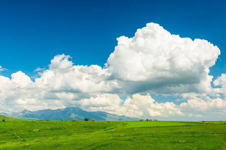 Beautiful cloud over the lush green field of Armenia against the backdrop of high mountains