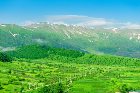 Beautiful landscapes - mountains and meadows on a sunny summer day, Armenia