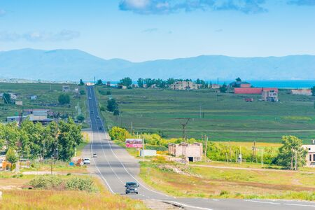 The road, the village and the view of the mountains, the landscape of Armenia