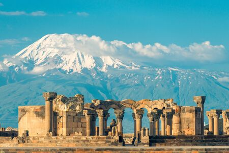 Mount Ararat and view of the ruins of Zvartnots temple, Armenia Stock Photo