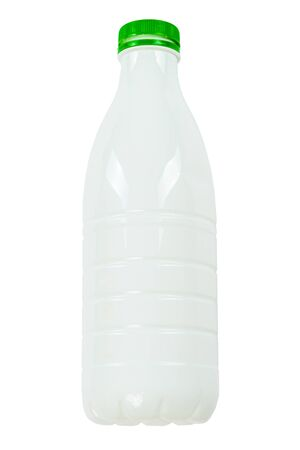 Empty plastic bottle with green cap isolated on white background Standard-Bild