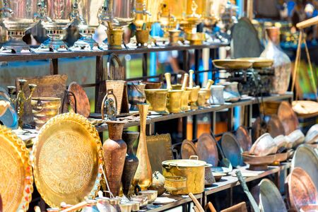 Vintage metallic and copper stuff sold as a souvenir or antiques on a market in Armenia Archivio Fotografico