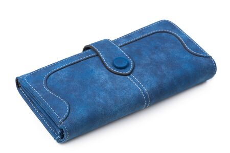 close-up of a blue female wallet on a white background Archivio Fotografico