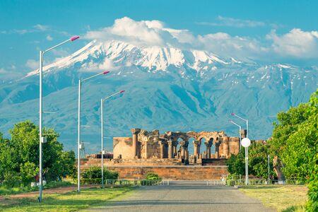 Armenia Landmark - Ruins of Zvartnots Temple on the Background of High Ararat