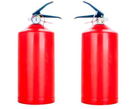 red fire extinguisher on a white background isolated view from two sides