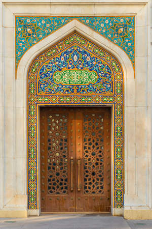 Traditional Oriental Tiles in the moscue and door, handmade art Фото со стока