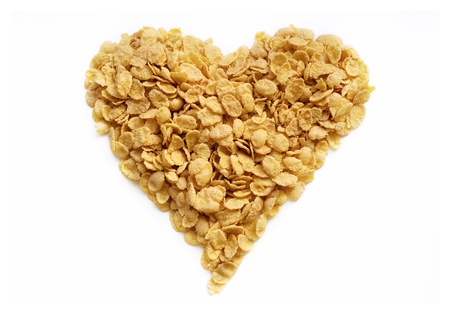 flakes heart from cornflakes for tasty  healthy breakfast photo