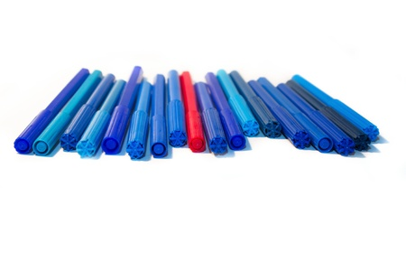 exception: all shades of blue felt-tip pens and exception on white background