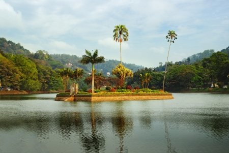 island housing the Royal Summer House is in the middle of the Kandy lake, Sri Lanka photo