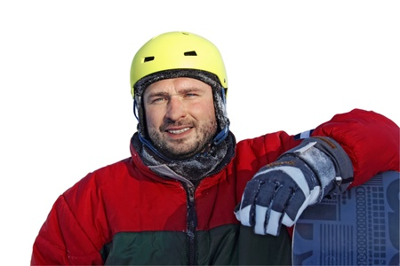 portrait of young man with snowboard clothes a helmet isolated on white backgroung photo
