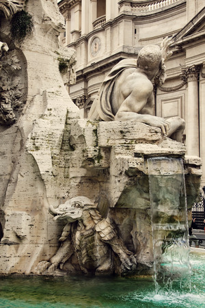 opulent: Detail of the  Fountain of the Four Rivers  by Bernini, showing the Rio della Plata, Piazza Navona, Rome, Italy