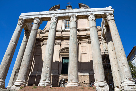 The church of San Lorenzo in Miranda, built in the 17th century within the remains of the Temple of Antoninus and Faustina  Tempio di Antonino e Faustina  in the Forum Romanum, frontal view, Rome, Italy  photo